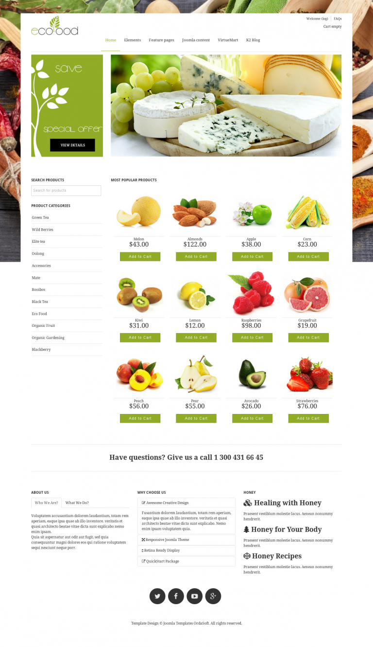 Joomla templates os ecofood food store website design image forumfinder Images